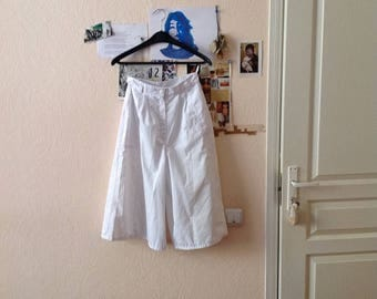 White Culottes Wide Leg Skorts High Waisted Small