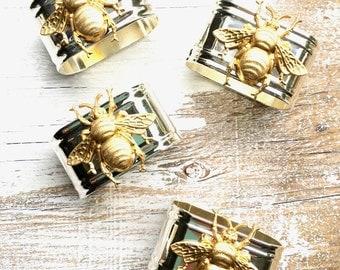 Bee Napkin Rings Bumblebee Garden Party Wedding Gift Gold Bee Silver Ring