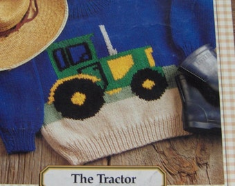vintage 1995 knitting pattern TRACTOR Bernat ewe can knit pattern child/adult sz 2-8/34-48 pullover