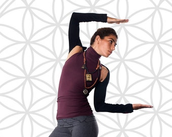 Polo neck vest. Yoga top - yoga clothes - dance wear - athleisure. Burgundy - misty grey - black. Size SM and ML