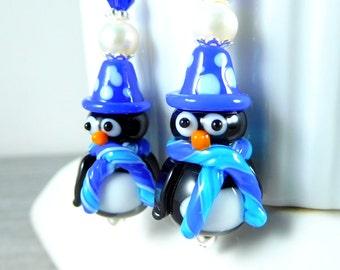 Penguin Earrings, Christmas Earrings, Holiday Earrings, Animal Earrings, Blue Lampwork Winter Glass Earrings Bird Earrings Whimsical Jewlery