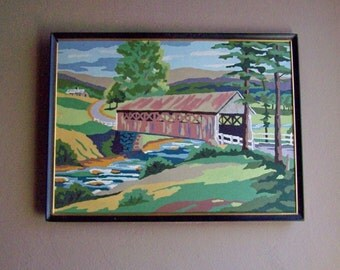 Vintage Paint By Number / Country Scene / Covered Bridge / Rural Landscape
