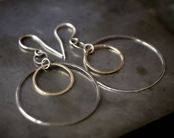 Lightweight 18k yellow gold and sterling silver double hoop earrings