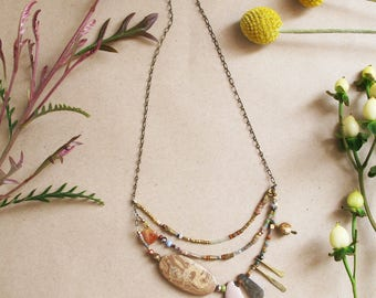 Sepia Season Necklace - Picasso Jasper, Labradorite, Imperial Jasper, Earthy Colors Necklace - Asymmetric Beaded Necklace