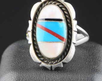 Vintage Turquoise Ring, Native American Ring, Zuni Ring, Mother of Pearl Ring, Inlay Ring, Native American, Zuni Jewelry, Size 9 Ring