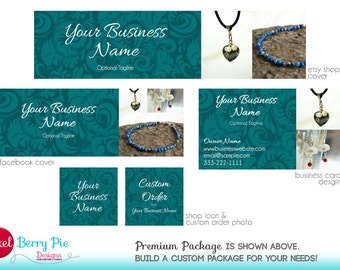 TEAL Etsy Cover Design for PHOTOS! (Custom product picture banner) Peacock Blue Floral Design, Personalized Shop Graphics