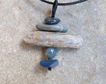 Opal potch, beach stone, Kyanite, Moss Agate pendant necklace - handmade in Australia by NaturesArtMelbourne, grey blue jewellery
