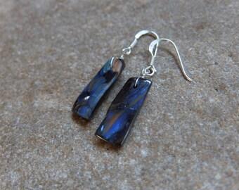 Blue Boulder Opal earrings -  small long gem stone earrings - one of a kind handmade in Australia on sterling silver ear hooks