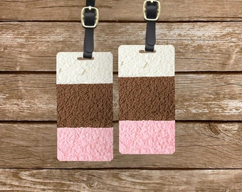 Luggage Tag Set neapolitan Ice Cream Vanilla Chocolate Strawberry Metal Luggage Tag Set With Custom Info On Back, 2 Tags Choice of Straps