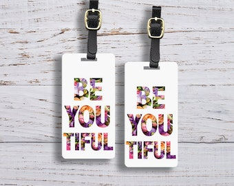 Luggage Tag Set Be You tiful Floral Metal Luggage Tag Set With Printed Custom Info On Back, 2 Tags Choice of Straps