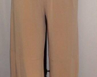 Plus Size Pants, Lagenlook, Coco and Juan, Vanilla, Beige, Plus Size Pants, Traveler Knit Wide Leg Pant, Women's Pant, Size 2 fits 3X,4X