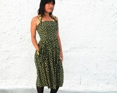 Vintage 1950s Black and Yellow Floral Print Summer Day Dress by Sportlane Deb S/M