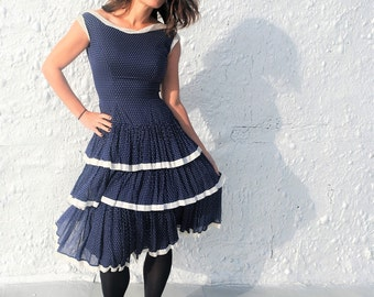 Vintage 1950s Peggy Hunt Blue Polka Dot Ruffled Day Dress Vintage Swiss Dot Summer Party Dress S/M