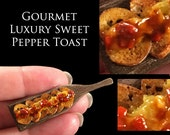 Gourmet Sweet Pepper Toast - set on my Walnut Board - Artisan fully Handmade Miniature Dollhouse Food in 12th scale.