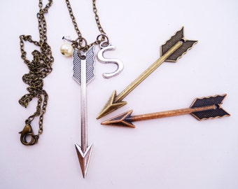 Arrow necklaces. Best friend gift, 2 or 3 best friend necklaces. Arrow jewelry. Antique gold, silver, copper. Initial charm.