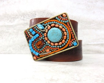 """Western Buckle with Turquoise & Orange Coral Rhinestones -Large Colorful Tribal Beaded Womens Belt Buckle with Crystals 3.5"""" by 2.5"""""""