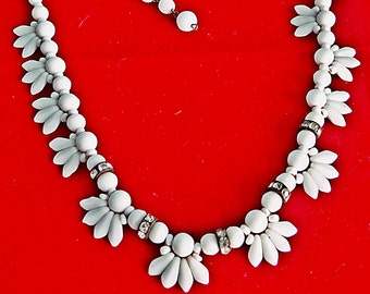 "VERY Vintage gold tone 16""  necklace with white milk stone glass beads & rhinestone accents in great condition, signed West Germany"