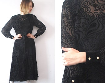 60s maxi dress. black burned velvet dress. semi sheer dress - medium