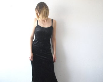 90s strap dress. crushed velvet dress. black velvet dress. gothic dress - xs