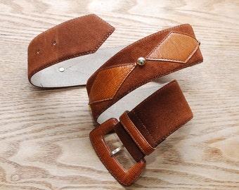 70s wide waist belt. hippie belt. studded suede and leather belt - XS
