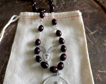 Handmade Ladies Necklace - Dark Brown Rosary Beads with Antique St. Joseph/ Christopher Medal