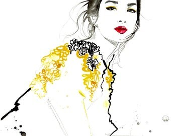 Sun, print from original fashion illustration by Jessica Durrant