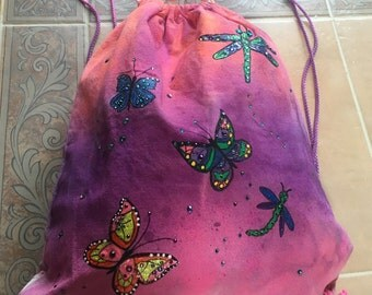 Hand painted Drawstring Canvas Bag with Swarovski Crystals
