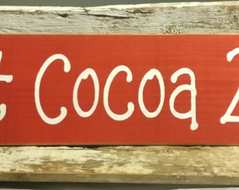 Hot Cocoa 25 Cents Primitive Wood Fence Board Sign Red Wood Sign Kitchen Sign