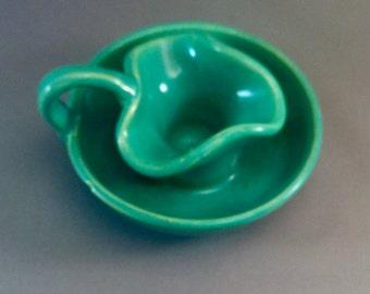 Vintage Bauer Matt Carlton Ceramic Jade Green Candlestick, Matt Carlton Ceramics, California Pottery, Bauer Matt Carlton, **USA ONLY**