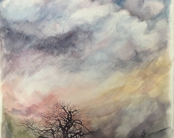 Watercolor Sunset Painting- Large Watercolor- Watercolor Sky- Winter Tree- 18x22- Purple,Pink, Gold, Blue- Boulder Colorado- Vertical