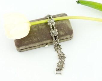 Vintage Flower Link Marcasite Bracelet | Sterling Silver Clover Flower Bracelet | Sterling Marcasite Link Bracelet