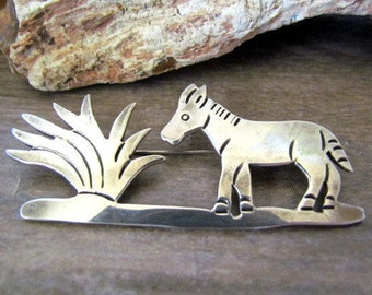 Vintage Sterling Silver pin signed TG-189 Mexico Donkey Burro Brooch