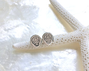 Sugar Skull Stud Fine and Sterling Silver Post/Stud Earrings - Eco Friendly Nickel Free Recycled Silver - Ready to Ship