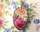 Broken china jewelry necklace pendant pink rose daisy made from antique broken china. recycled china