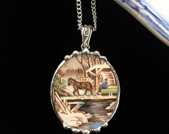 Broken china jewelry - snowy farm scene horse wagon bridge river - vintage china - broken china jewelry pendant necklace
