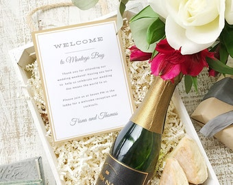 Wedding Welcome Note, Printable Wedding Welcome Bag Letter, Thank You, Elegant, Itinerary, Agenda, Hotel Card - INSTANT DOWNLOAD