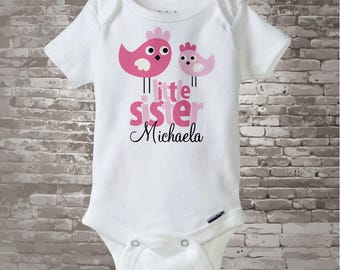 Little Sister Shirt, Little Sister Onesie, Cute Birds Shirt, Little Sister Big Sister Shirt, Personalized Shirt (12092011a)