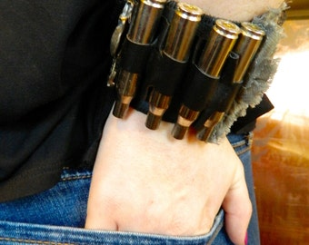 Steampunk Bullet Cuff - Black/Silver with Watch Parts