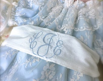 3 Piece Set Bubble Romper Special Occasion Lace Overlay Matching Bonnet and Monogrammed Sash  Classic Beach Photo  Size 6 mo. to 2 years