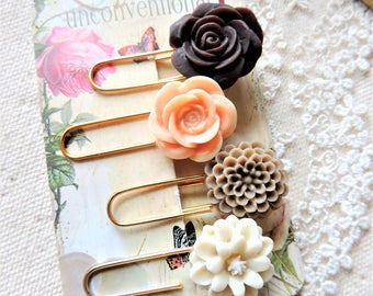 PAPER CLIPS PLANNER Clips Paperclips Cute Paper Clip Office Supplies Pretty Decorative Gold Flower Bookmark Page Markers Accessories