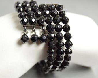 Black Beaded Bracelet Memory Wire Wrap Bracelet Easy On Easy Off Goth Art Deco