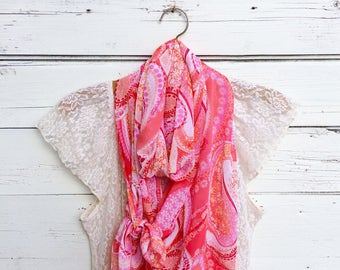 Paisley Scarf, Coral Pink Scarf, Floral Scarf, Sheer Scarf, Summer Scarf, Long Scarf, Spring Scarf, Wrap, Shawl, Gift for Her