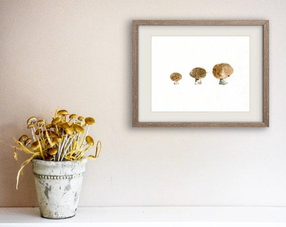 kitchen art, mushrooms Print, musrhoom watercolor print, mashroom art print, still life art, botanical art, minimalist art,  kitchen decor