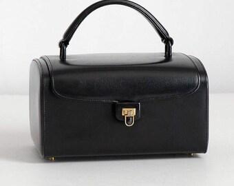1950s vintage Nettie Rosenstein black leather box purse * designer handbag AC100