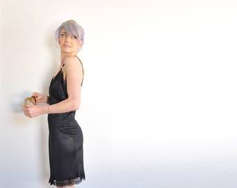 softest black widow slip . classic lingerie under dress . lace trim .medium .sale s a l e
