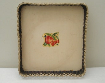 Vintage Painted Square Tray with Apple or Cherry Decal
