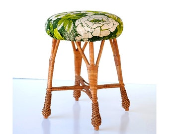 Flower Top Wicker Rattan Woven Stool Bamboo Plant Stand Patio Mid Century  Small Yugoslavia Italy Furniture