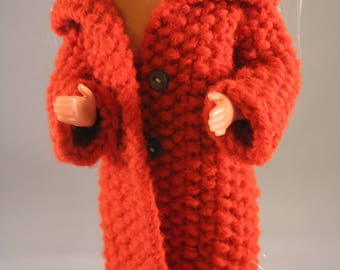 Hand Knit Sweater Coat Doll Clothes Burnt orange  fits 11 1/2 inch fashion doll such as Barbie