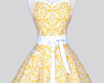 Sweetheart 50s Womens Apron , Yellow and White Damask Cute Flirty Retro Vintage Inspired Kitchen Pin Up Apron with Fitted Bodice