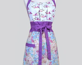 Cute Kitsch Womens Apron . Blue Violets Spring Floral with Love Birds Retro Vintage Style Kitchen Chef Apron with Pockets